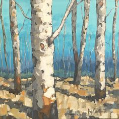 GOLDEN BIRCHES An Original Painting by Artist Beth Capogrossi
