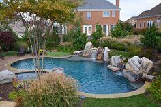 Pebble Sheen Blue Granite, Gainesville, Virginia, Freeform Custom Pool, spa, Boulders, Water Fall, Water Feature, Sheer Descent