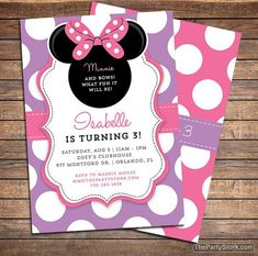 Minnie Bowtique Inspired Invitation | Printable Girls Birthday Party Invite | Pink Purple | See our Shop for Minnie Mouse Decorations