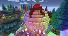 minecraft houses rainbow cupcake castle modern cool buildings cake blueprints increibles creations bringing rainbows