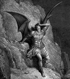 Gustave Dore Lucifer The Fallen Angel Gustave Dore, Pagan Metal, John Milton Paradise Lost, Lost Paradise, Art Noir, Satanic Art, Arte Obscura, Angels And Demons, Fallen Angels