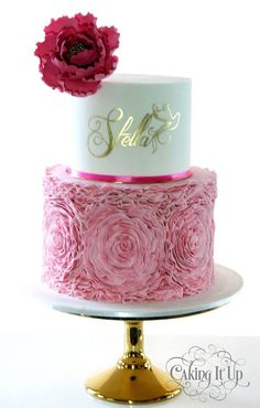 Pretty pink, white and gold cake; with ruffles, peony and hand-painted gold name - by Caking It Up Amazing Wedding Cakes, Elegant Wedding Cakes, Amazing Cakes, Gorgeous Cakes, Pretty Cakes, 50th Birthday Cake For Women, Girly Cakes, Fab Cakes, Ruffle Cake