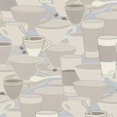 Coffee Cups Pale Blue / Taupe Cushion Vinyl Wallpaper By P+S International  45028