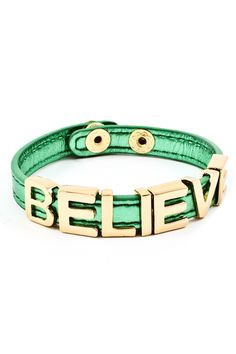 Kelly Green Believe Charm Bracelet.