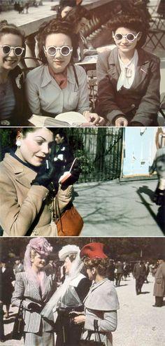 Ladies in Paris. 1940s. Serious style.