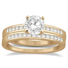 Channel Princess Cut Diamond Bridal Ring Set 18k Rose Gold (0.35ct) - Allurez.com