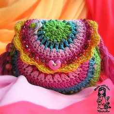 Crochet rainbow purse - crochet pattern DIY. Check out this shop. Some of the cutest stuff.