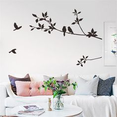 flying black bird tree branch vinyl wall stickers bedroom decoration removable diy home decals animal mural art Wall Stickers Home Decor, Wall Stickers Murals, Wall Decals, Living Room Wall Stickers, Window Stickers, Window Decals, Vinyl Decals, Wall Art, Tree Wall Painting