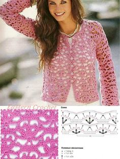 Gift for mom: cute lace sweater, sweater crochet pattern Gilet Crochet, Crochet Coat, Crochet Cardigan Pattern, Crochet Tunic, Crochet Jacket, Crochet Clothes, Crochet Stitches, Crochet Patterns, Beau Crochet