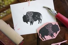 Stamping some bison love, and enjoying my freshly carved stamp this morning!  #new #bison #prairie #manitoba #blockprint #blockprinting #spoonflower #etsy #love
