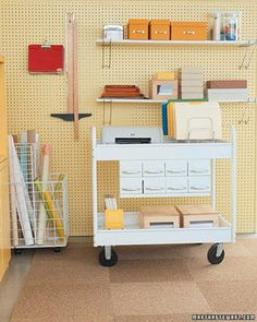 Commercial kitchen bussing cart used in home office. via Apartment Therapy