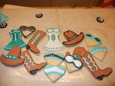 Country themed bachelorette party cookies.