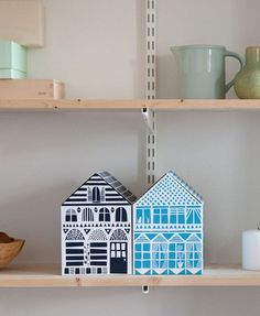 NEW! Famille Summerbelle House Boxes. A pack of 4 colourful cardboard boxes to hide away the clutter in a stylish way! www.famillesummerbelle.com