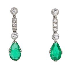 Art Deco Colombian Emerald and Diamond Drop Earrings (£12,485) ❤ liked on Polyvore featuring jewelry, earrings, deco jewelry, emerald earrings, art deco jewelry, 1920s earrings and emerald diamond earrings