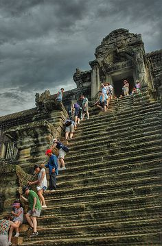 Long Way Down - Angkor Wat, Cambodia. We climbed this to see the sun set.  I was so tired after this full day of hiking, I'm not sure I enjoyed it or not !!!