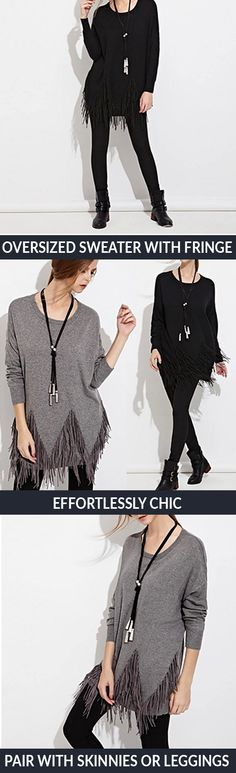 Make the 70s your own with this edgy fringed sweater. Its neutral color scheme goes with just about anything, whether it's leggings or ankle boots or a bold statement necklace. The sweater's loose fit and soft material will keep you cozy and warm while you relax at home, run errands around town, or even go out for drinks with friends.