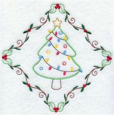 Machine embroidery designs at embroidery library! Christmas Embroidery Patterns, Hand Embroidery Patterns, Embroidery Art, Cross Stitch Embroidery, Sewing Machine Embroidery, Sewing Cards, Tree Patterns, Needlework, Diy