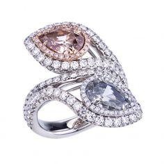 VIVID PINK AND BLUE TOI ET MOI RING l William  Goldberg ~Breathtaking Diamond Jewelry
