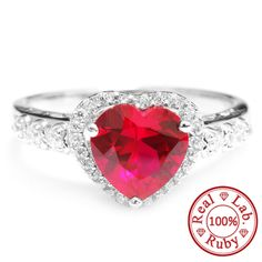 Romantic Design 3ct Pigeon Blood Ruby Ring Heart For Women