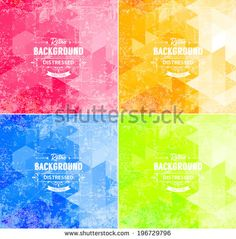 Abstract vector trendy retro polygonal patterns collection. Vintage distressed backgrounds set. Yellow red blue and green - stock vector