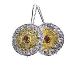 Sterling silver gold plated large disk earrings by silverjewelrygr