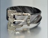 Vintage Judith Jack Bracelet Sterling Silver Marcasite Lucite Belt Buckle Bangle Art Deco Style Jewelry