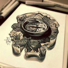 Тату эскиз - компас и карта. Эскиз нарисован лайнерами ...
