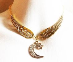 Crescent Moon And Star Choker Necklace   Stevie by RedGypsyJewelry