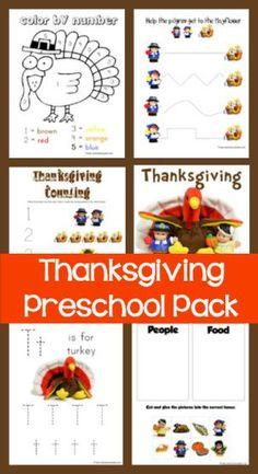 Thanksgiving Preschool Pack  ~ loads of free Thanksgiving theme printables