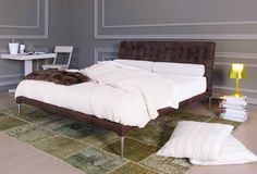 Pat Time Out, piele Nubuk, maro Time Out, Bed, Furniture, Home Decor, Products, Decoration Home, Stream Bed, Room Decor, Home Furnishings