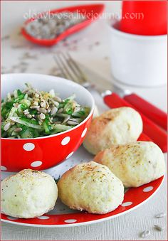 Chicken Meatballs w/ Cheese ~ Russian translation: 500 g chicken fillet - 250 g of cottage cheese - 1 egg yolk - green parsley - salt/pepper/seasoning to taste ~~ Mince chicken. Stir minced meat w/cheese. Add seasonings. (Can add a teas of curry for color.) Mix stuffing well. Roll into balls, put them on a grill steamer & cook 25 minutes. Prepared meat balls put in a heatproof bowl, pour cream sauce & bake in the oven. Sauce: 150 sour cream 1 tsp. flour 1/2 tsp. mustard 1 clove garlic sauce.