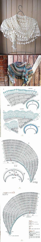 Полукруглая шаль крючком | Дне