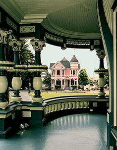 Photographed from the porch of the Carson Mansion, Eureka, CA. To the west of the Mansion sits another grand Queen Anne, sometimes called the Wedding Cake house. It was built in 1889 by William and Sarah as a wedding present to their son John Milton Carso Victorian Architecture, Amazing Architecture, Architecture Details, Beautiful Buildings, Beautiful Homes, Beautiful Places, Pink Houses, Old Houses, Vintage Houses