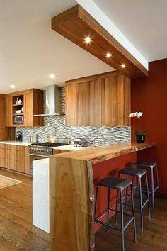 61 Ideas Breakfast Bar Kitchen Island Wood Counter For 2019 Kitchen Cabinets Light Wood, Kitchen Bar Lights, Kitchen Bar Counter, Kitchen Island With Stove, Breakfast Bar Kitchen, Kitchen Lighting Fixtures, New Kitchen, Kitchen Interior, Kitchen Design