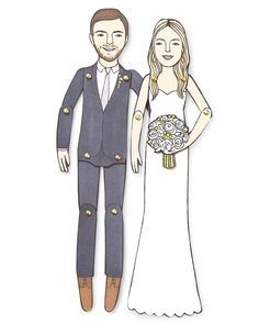 Jordan Grace Owens crafts custom paper dolls that are as cute as you two—and they make unique family portraits. Personalized Wedding Paper Dolls, $35 each; jordangraceowens.etsy.com.