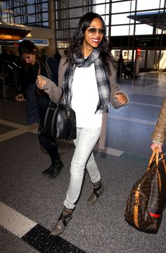 zoe saldana style | Zoe Saldana Is The Most Fashionable Frequent Flyer - love her style!