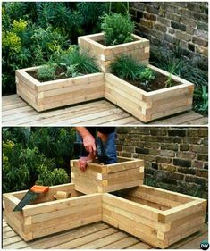 This could be a cool planter box idea for the corner of the house where the deck step up would be.