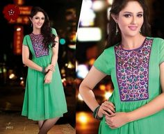 Very Elegant Looking Green Georgette Kurti with beautiful thread Embroidery on neckline. Comes with santoon innner and is available in L, XL, XXL size.