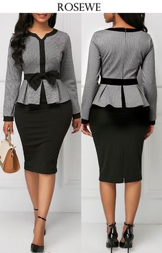 pizza - Bowknot Embellished Long Sleeve Peplum Waist Dress For work, for business, for a profession, work outfit, work dress for women workoutfitdressforwork Work Dresses For Women, Trendy Dresses, Casual Dresses, Latest African Fashion Dresses, Women's Fashion Dresses, Dress Outfits, Classy Dress, Classy Outfits, Official Dresses