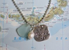 beachcomber sea glass dreaming of the sea charm necklace  by beachcomberhome, $24.00
