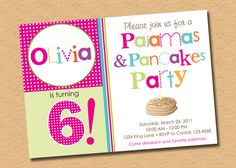 Perfect invitation for an adorable Pajamas & Pancakes Party by InkberryCards.com.