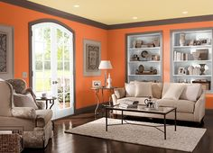 This is the project I created on Behr.com. I used these colors: GLOW(W-B-310),CHARISMATIC(PPU6-14),ELECTRIC ORANGE(220B-7),CHOCOLATE COCO(S-G-760),OLD VINE(440F-6),SUN RAY(S-G-340),TROPICAL SPLASH(540D-5),