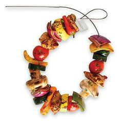 The flexibility of these grilling skewers allow you to utilize all the space on the grill. Skewer tips are kept cool by leaving them outside of the grilling surface, and the tips can also be used as a handle to turn the skewers.