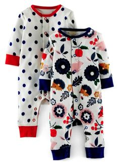 Mini Boden Print Rompers (2-Pack)