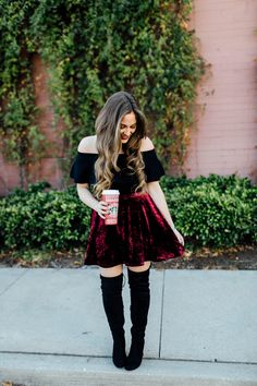 A Pretty Velvet Skirt + Off the Shoulder Top + over the knee boots = perfect Valentine's Day Style!