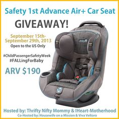 0ver Safety 1st Advance Air Car Seat Giveaway Ends 9 29