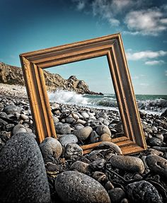 picture frame on a beach