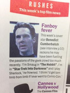 """""""Why Ben is afraid to go to ComicCon"""" – Because that is most likely what would happen if he did go."""