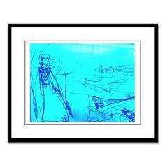 Blue Robed Angel Large Framed Print
