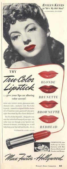 Beauté Vintage - Rouge à lèvres Max Factor - 1942